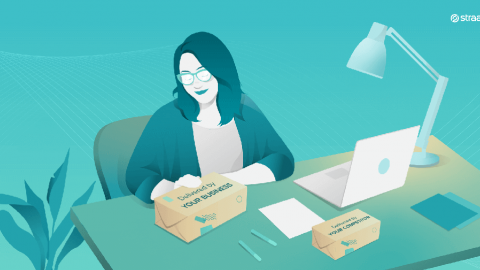 a woman sitting at a desk - illustration for a text about vendor lock-in strategies